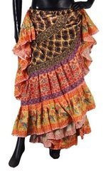 NEW!!ATS BRN/ORG Durga Tribal Bellydance Tribal ATS Gypsy Skirts