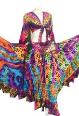 ATS®TRIBAL BELLYDANCE GYPSY MULTI COLORED TRIBAL SKIRT