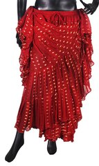 NEW!!ATS RED BW Sparkley Tribal Bellydance Tribal ATS Gypsy Skirts