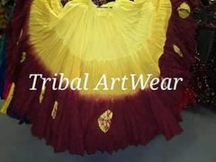 ATS®GOLD&BURGUNDY DOUBLE Dip Dyed Tribal Bellydance ATS®Tribal Gypsy Skirts