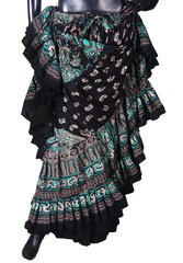 BLOCK PRINT AQUA PAISLEY Tribal Bellydance Tribal ATS Gypsy Skirts