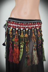 VINTAGE TRIBAL BELLYDANCE GYPSY MULTI COLORED TASSEL BELT