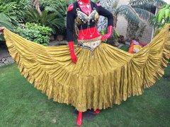 ATS®HAND Dyed PAISLEY CHUNRI Tribal Bellydance Gypsy Skirt