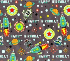 Blast Off Birthday Gift Wrapping - 6 Ft Sheet