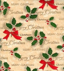 Merry Christmas Script Gift Wrapping Paper - 6 Ft Sheet