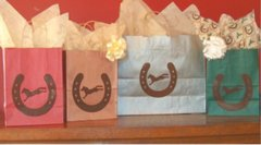 Horse Shoe & Bucking Horse Gift Bags - Six Barn Red Medium Size