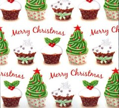 Christmas Cupcakes Heavy Embossed Gift Wrapping Paper - 30 Ft Roll