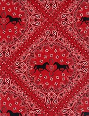 Red Bandana With Horses Gift Wrapping - Six Foot Sheet