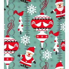 Alpine Santas Heavy Embossed Gift Wrapping Paper - 6 Ft Sheet