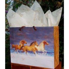 Snow Horses Laminated Eurotote Gift Bag - Case of 100 Large