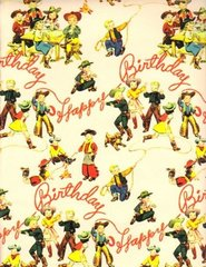 Birthday Buckaroos Heavy Western Gift Wrapping - 30 Ft Roll