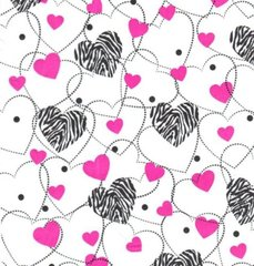 Zebra Hearts Tissue Paper - 10 Sheets