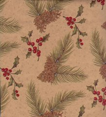 Christmas Pines with Holly Kraft Gift Wrapping - 6 Ft Sheet