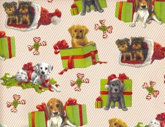 Puppy Presents Heavy Christmas Gift Wrapping Paper - 6 Ft Sheet