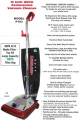"Perfect P103 12"" Wide HEPA Commercial Upright Vacuum"