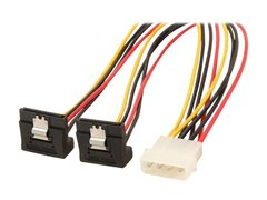 """StarTech PYO2LP4LSATR 12"""" LP4 to 2x Right Angle Latching SATA Power Y Cable Splitter - 4 Pin Molex to Dual SATA"""