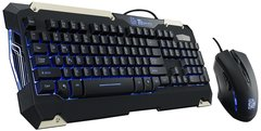 Thermaltake Tt eSPORTS Commander Blue LED Backlighting Mechanical Keycaps Membrane Gaming Keyboard & 2400 DPI Blue LED Optical Gaming Mouse Combo KB-CMC-PLBLUS-01