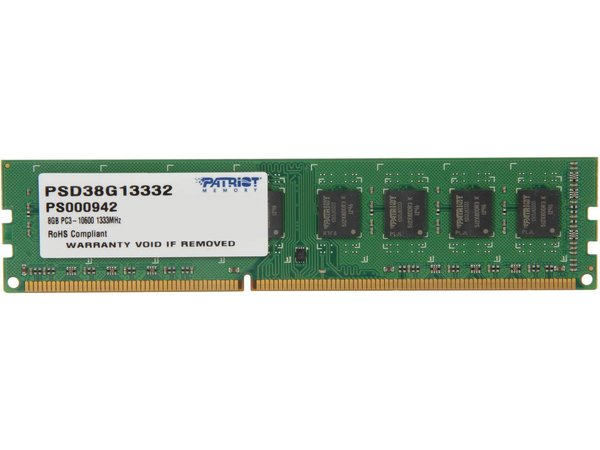 Patriot Signature 8GB 240-Pin DDR3 SDRAM DDR3 1333 (PC3 10600) Desktop Memory Model PSD38G13332