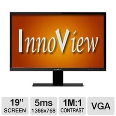 "HKC InnoView 19"" LED Widescreen Monitor - VGA, 16:9, 1366x768, 200 nits, 1,000,000:1, 5ms - I19LMH1"