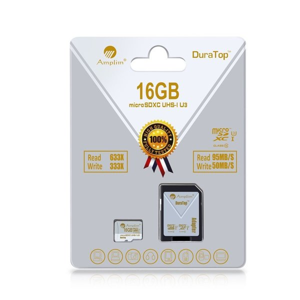 Ultimate 16GB UHS-I U3 Class10 MicroSDHC Card Plus Adapter. Amplim Micro SD Extreme Pro Speed 95MB/s Read, 50MB/s Write. HD, UHD, 4K Video Smartphone, Camera, Tablet. Internal/External Storage Memory