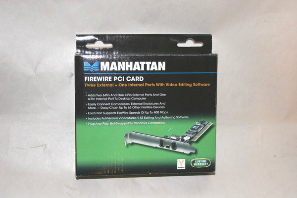 Manhattan Firewire PCI Card - 3 External + 1 Internal Ports w/ Video Editing SW