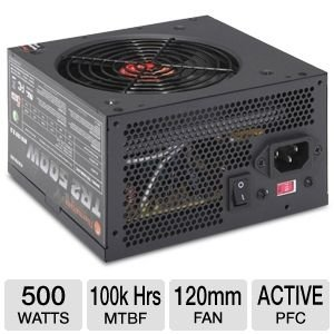 Thermaltake TR-500 TR2 ATX Power Supply - 500W, 120mm Fan, Active PFC - TR-500