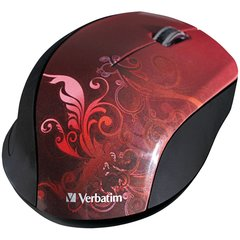 Verbatim Wireless Optical Design Mouse, Red 97784