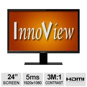 "HKC Innoview 24"" Class Widescreen LED Monitor - 1920x1080, 3,000,000:1 (Dynamic Contrast), 16:9, VGA & HDMI Input, 5ms - I24LMH1"