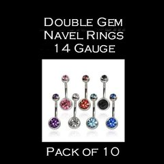 Double Gem Navel Rings 14 Gauge