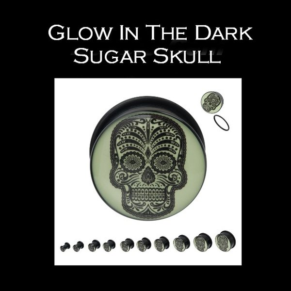 Glow In The Dark Sugar Skull Plug