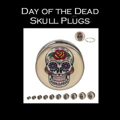 Day of the Dead Skull Plugs