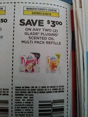 10 Coupons $3/2 Glade Plugins Scented Oil Multi Pack Refills Exp.6/30/18