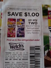 10 Coupons $1/2 Welch's 59oz. Refrigerated Juice Cocktails Exp.7/29/18