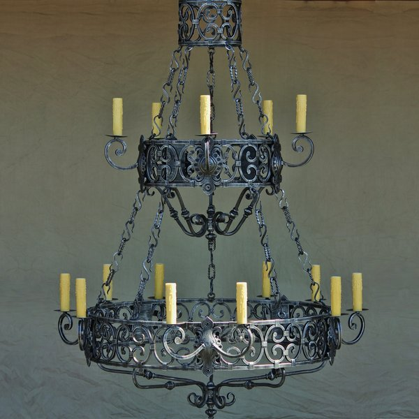 Spanish revival two level iron chandelier spanish revival lighting 1100 18 spanish revival two level iron chandelier aloadofball