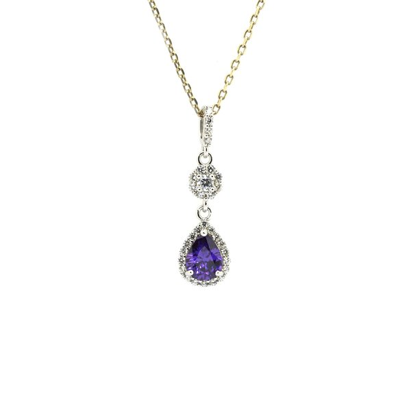 Color stone silver drop pendants fine jewelry silver jewelry 33011 amethyst silver pendant drop shape aloadofball Image collections