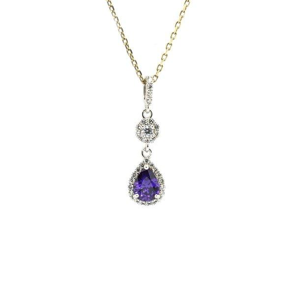 Color stone silver drop pendants fine jewelry silver jewelry 33011 amethyst silver pendant drop shape aloadofball Choice Image