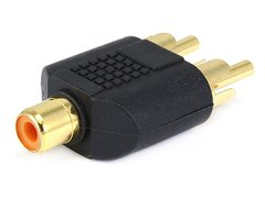 Adapter - RCA Jack to 2 RCA Plug Splitter Adaptor - Gold Plated