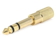Audio - Metal 6.35mm (14 Inch) Stereo Plug to 3.5mm Stereo Jack Adaptor - Gold Plated