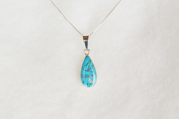 "Sterling silver turquoise inlay teardrop pendant with sterling silver 18"" box chain. N086."