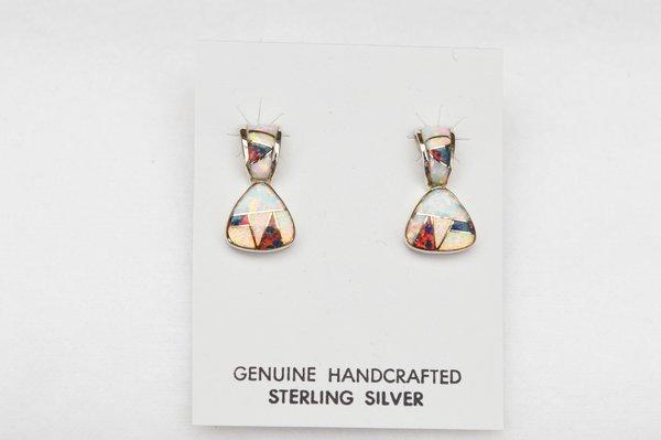 Sterling silver black/white opal inlay post earrings. E115