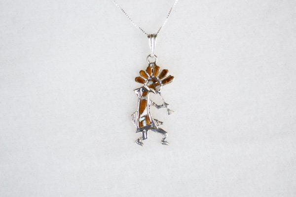 """Sterling silver mother of pearl and tiger eye inlay kokopelli pendant with sterling silver 18"""" box chain. N111."""