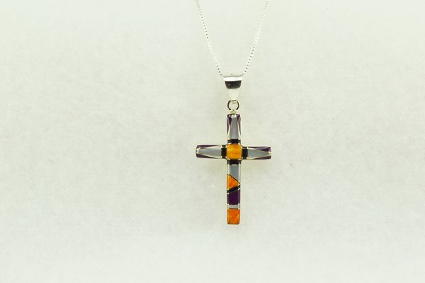 "Sterling silver multi color inlay cross pendant with sterling silver 18"" figaro chain. N216"
