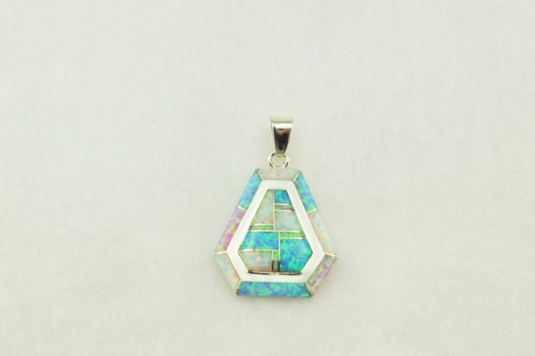 Sterling silver white, blue and pink opal inlay pendant. P001