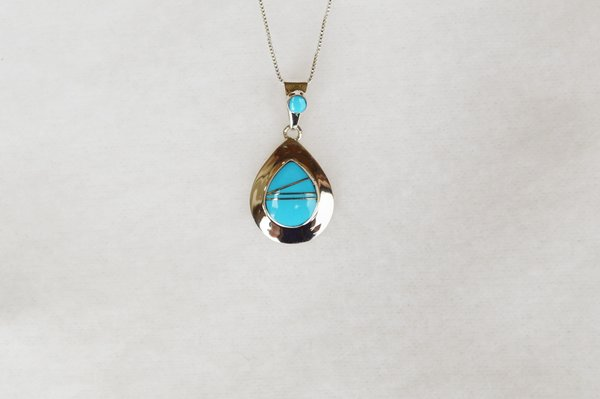 """Sterling silver turquoise inlay raindrop pendant with sterling silver 18"""" box chain. N084."""