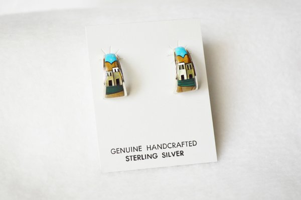 Sterling silver multi color adobe inlay w/malachite yard post earrings. E336