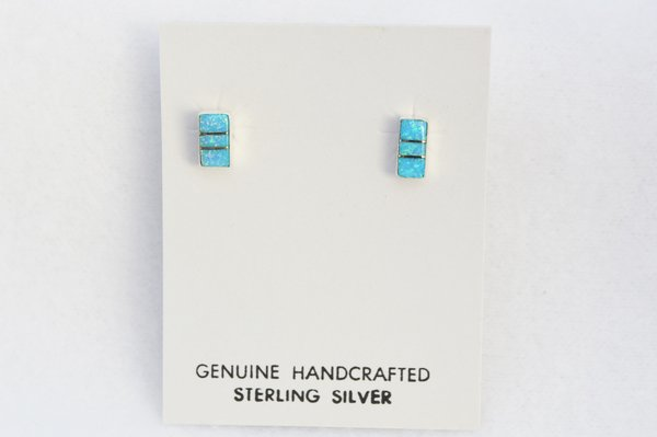 Sterling silver blue opal inlay rectangle post earrings. E194