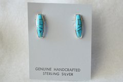 Sterling silver turquoise inlay coffin post earrings. (E059)