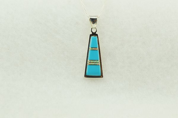 """Sterling silver turquoise and white opal inlay tall triangle pendant with sterling silver 18"""" box chain. N283"""