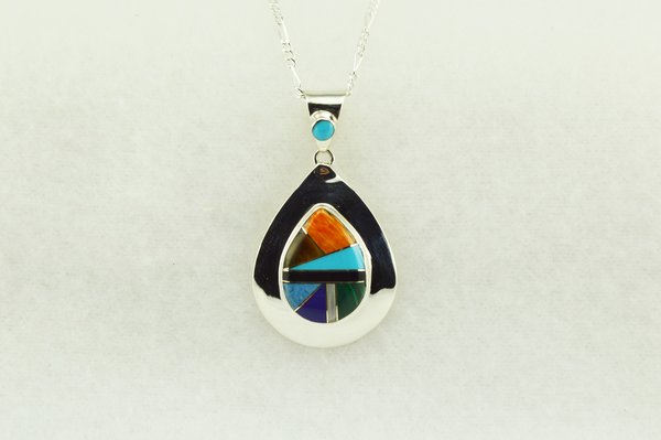 """Sterling silver multi color inlay raindrop pendant with sterling silver 18"""" figaro chain. N154"""