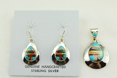 Sterling silver multi color inlay teardrop earrings and pendant set. S133